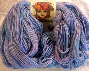Hand Dyed Superwash Merino Wool Sock Yarn, Knitting, Crochet, Weaving Supply, Light Blue & Violet