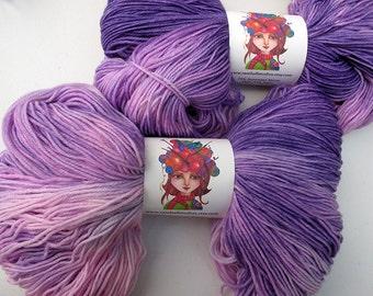 Beautiful Violet Pink Fingering Sock Yarn Knitting Yarn, Superwash Wool Hand Dyed Yarn- 462 yards RaseHallStudios