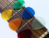 Six Sick Picks - Set of Six Handmade Guitar Picks Made From Vinyl Records - Red - Orange - Yellow - Green - Blue - Purple - Clear - or Black
