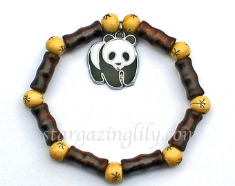 Panda Bear Charm Bracelet with Bamboo shaped wood beads and Chinese Writing spacer beads