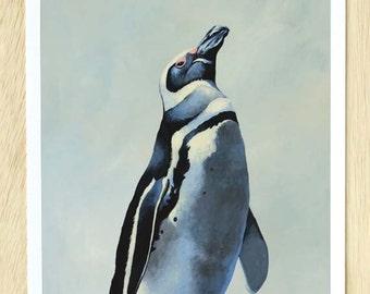 Penguin #1 11 x 14 Art Print - Bird - Animal - Nature - Gift - Mincing Mockingbird