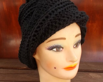 Womens Crochet Hat,  Womens Hat Trendy,  Crochet Beanie Hat,  Black Hat,  Ombretta Beanie Hat Womenn