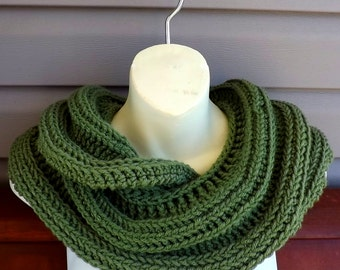 Crochet Scarf,  Crochet Infinity Scarf,  Sage Green Scarf,  Snake Mobius Crochet Cowl Scarf