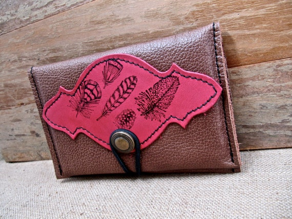 Leather Wallet, Petite with Zipper Pocket Tan Brown & Cerise Pink Feathers Print - SALE - see Shop for Coupon Codes...