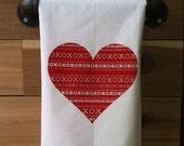 XO Heart Kitchen Towel, Tea Towel, Flour Sack Towel- Single