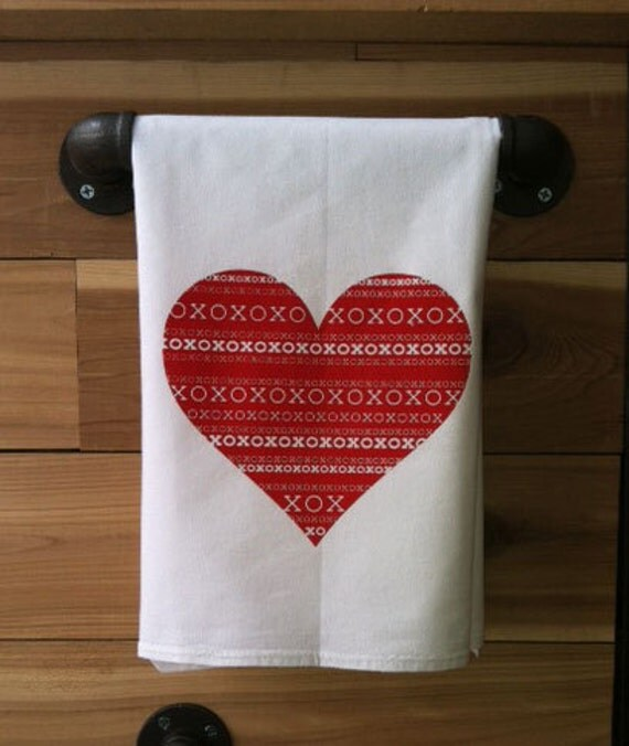 Xo Kitchen: XO Heart Kitchen Towel Tea Towel Flour Sack Towel Single