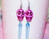 Hot Pink and Blue Sugar Skull Spike Earrings