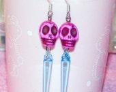 Hot Pink and Blue Sugar Skull Spike Earrings