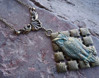 Large Owl Diamond Pendant - Owl in Good Time - Beautiful Brass Pendant on Victorian Filigree Chain