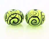 Lime and Black Scroll Hollow Glass Bead Pairs
