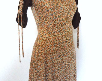 Drape front,Empire Waist Print,pattern mixing, match Gathered Drawstring Sleeve Dress