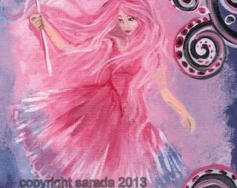 Pink Valentine fairy fantasy art print, magic wand, girls room art 5 x 7 reproduction