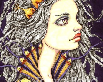 MAIREAD - beautiful sea princess - surreal pop fantasy art - 5x7 print of an original painting by Tanya Bond