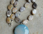 Chunky Dusk Blue Agate Pendant with Botswana Agate and Hematite Necklace