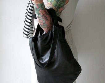 Soft Black Leather Shoulder Bag, Satchel, Leather Purse, Handbag with Knotted Straps: THE TESSER in BLACK Leather by Awl Snap