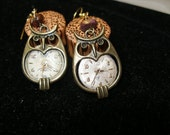 Steampunk owl watch face earrings   Harry Potter  FunkyAlternativeJewelry,  OlympiaEtsy, SupportingArtists, HandmadeJewelryGuild, CraftCount