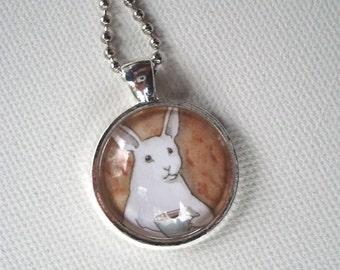 Bunny with a Cup of Coffee - Round Pendant - Unique Rabbit Necklace