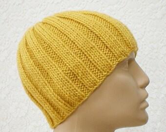 Mustard yellow ribbed beanie hat, skull cap, yellow gold hat, beanie hat, ski snowboard hat, knit toque, skateboard, mens womens hat, chemo