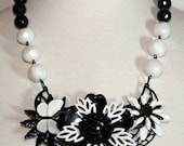 Vintage Enamel Statement Necklace. OOAK Necklace. Butterfly. Black and White