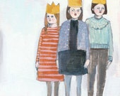 Giclee print - three girls with crowns