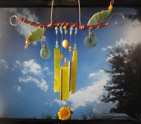 SALE, Hello Sunshine, Wind Chime, A Copper Branch, Mobile, Wall Hanging, Garden Art, Sculpture