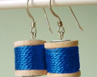 Earrings - Spools of Thread in Cobalt Blue