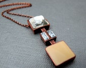"""Art Deco Necklace // Caramel Clear Rhinestone Squares Pendant // Clear and Tan // 17"""" Copper Chain Necklace // Only Piece"""