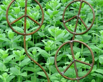 Set of Three Peace Sign Garden Art Plant Stakes- 41 inches tall