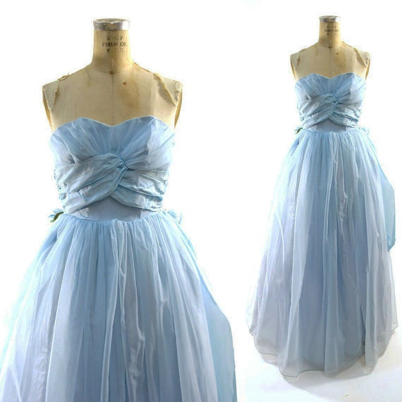 SALE 50s Prom Dress / Vintage 1950s Bridesmaid Gown / Formal / Bustle Dress / Pale Blue Cinderella Special Occasion Strapless Dress XS