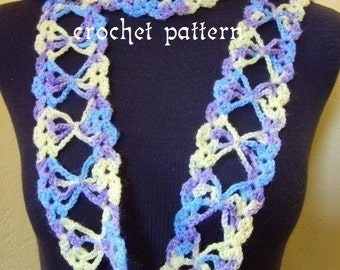 crochet pattern digital download Lacy Butterfly scarf