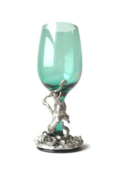 Pewter Mermaid Aqua Wine Glass Sculptured Stem 1991