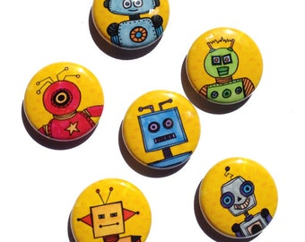 Robot Magnets - Robot Pins - 1 inch pins or magnets, magnet set, pinback button set, sci fi magnets by Claudine Intner, fridge magnet