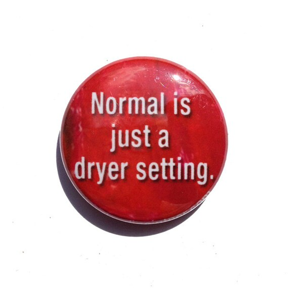 Normal is just a dryer setting PIN or MAGNET - 1 inch normal pin, normal magnet, pinback button, celebrate being different, fridge magnet