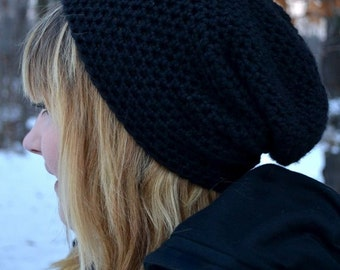 Black Slouch Hat Beanie His or Hers Mens Black Beanie