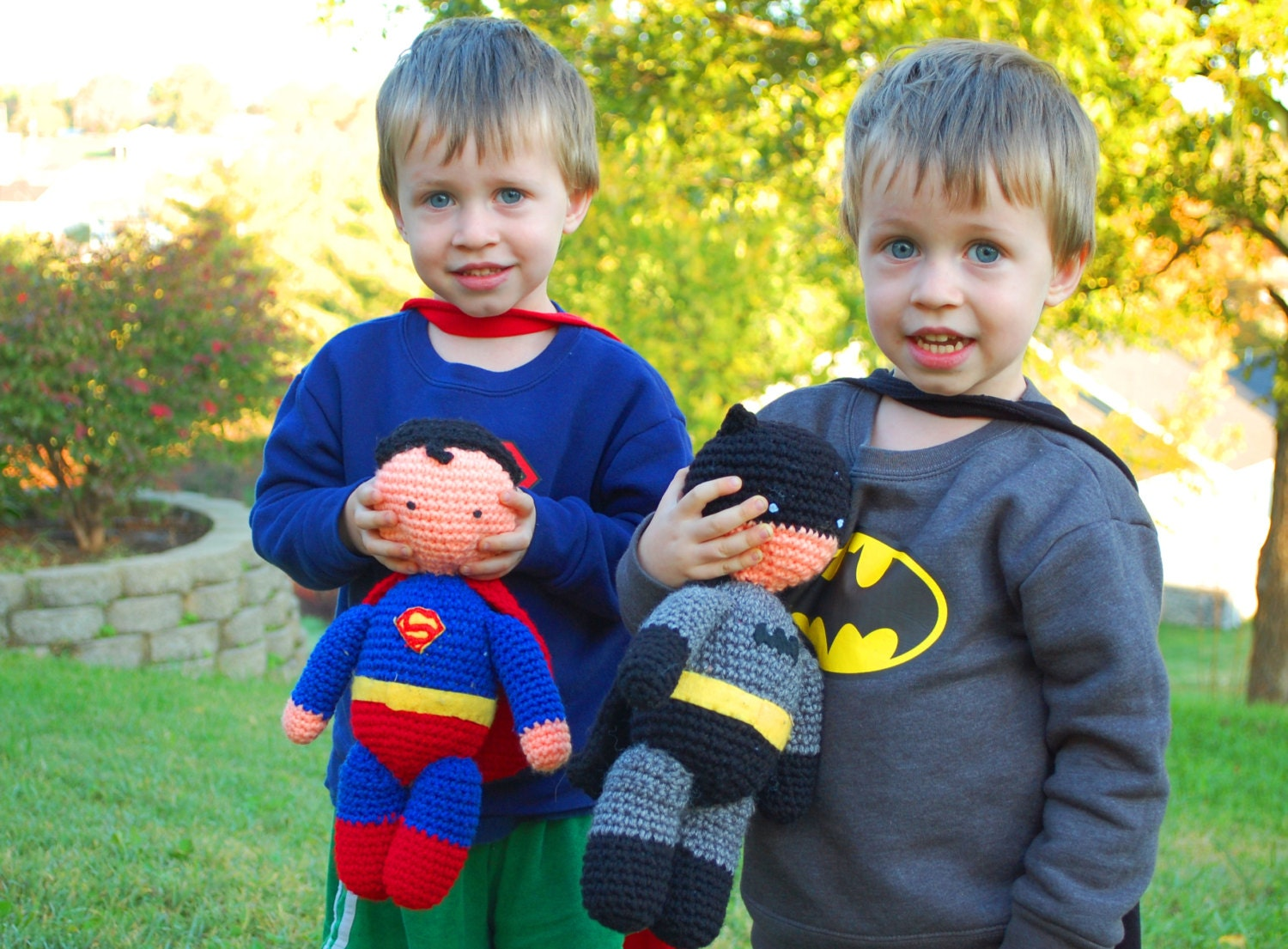 Knitting Pattern Superman Doll : My Hero Superman and Batman PDF Crochet Toy Patterns INSTANT
