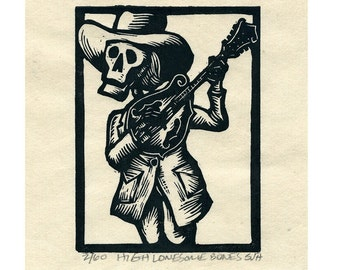 High Lonesome Bones Linocut