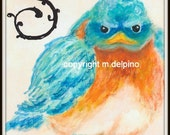 Baby Bluebird whimsical bird art, nursery bird art, SMILE, blue orange print, spring wall art