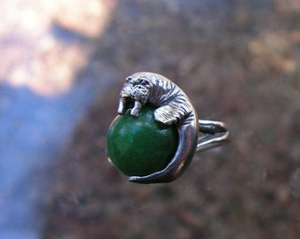 Sterling Silver Walrus Ring With Aventurine