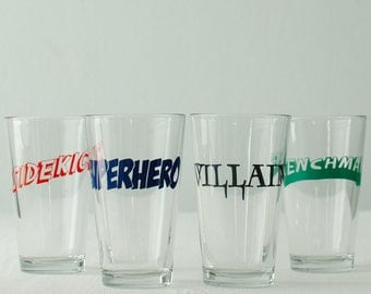 VILLAIN - SINGLE screen printed pint glasses - Comic book style