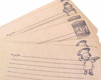 Chef Handmade Recipe Cards.Kraft Paper.Lot of 24.Vintage Kitchen Images.Bridal Shower.Chef boy, girl, seasonings.Kraft Recipe Cards.Craft