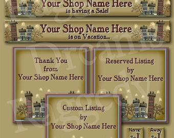 Etsy Banner Set - Premade Etsy Banner - SHOP ICON - Shop Profile Photo - Etsy Shop Banner - Primsy Whimsy Saltboxes