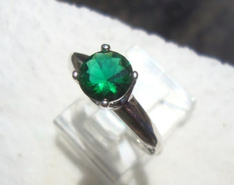 Emerald green topaz ring in sterling silver - custom size Fair Trade, earth friendly - May birthstone - Understanding /Growth