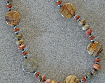 Cherry Creek handknotted necklace with Cherry Creek jasper, Czech glass and silver