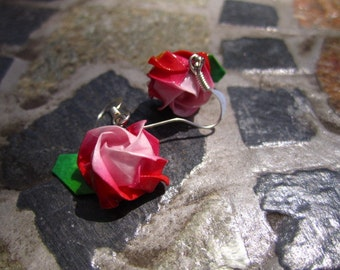 Red Origami Rose Earrings