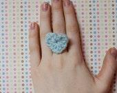 crochet mint heart ring