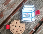 Milk and Cookie Felt Hair Clips