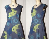 Grey Gray Cotton Jersey Spring Dress with lime green horse head, turquoise compass rose, blue skull xray screenprinted
