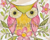 owl - folk painting- 8 x 8 - limited edition archival print of an original watercolor by cori dantini - child decor
