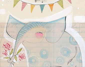 Whimsical Elephant Art Print - Elephant Painting - Nursery Art - Elephant Nursery - Nursery Room Decor - Baby Room - Elephant Baby