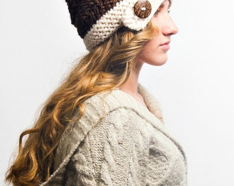 Knit Hat Brown Womens Hat - Hybrid Swirl Cloche Hat in Coconut Cream and Brown Knit Hat - Brown Hat Cream Hat Knit Accessories Winter Hat